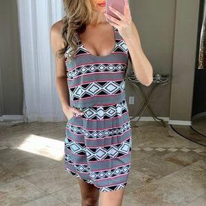Bebe Black & White Aztec Striped Layered Dress